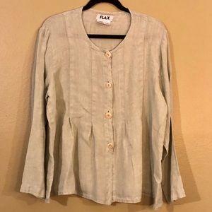 Flax long sleeve button up blouse, light green.